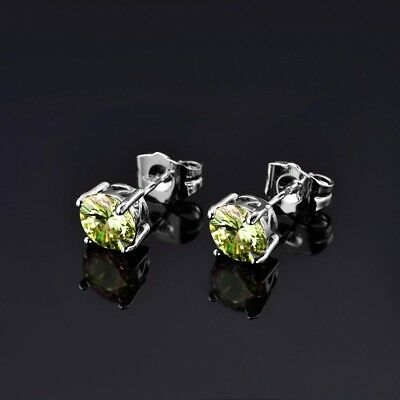 Women Lady Stunning Small Round Green Peridot Gemstone Silver Stud Earrings Gift