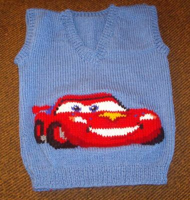 Cars  Mcqueen  Vest  New Hand Knitted Size 3