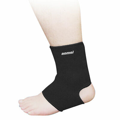 Gym Exercise Black Stretchy Protective Left Ankle Support Brace for Unisex