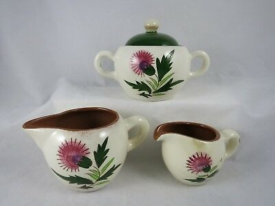 Stangl Pottery Pink Thistle Sugar Bowl Lid 2 Small Creamers Pitchers