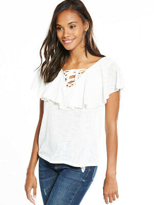 V by Very Frill Tie Up Front Top in White Size 16