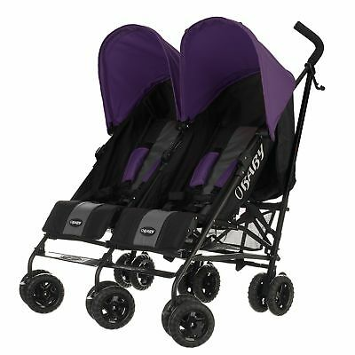 Obaby Apollo Black and Grey Twin Stroller - Purple.
