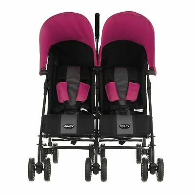 Obaby Apollo Black and Grey Twin Stroller - Pink.