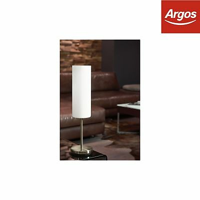 Eglo Troy Satin Glass and Nickel Table Lamp - White