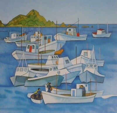 Rita Angus, Boats, Island Bay, New Zealand Art, Near Wellington N.Z.