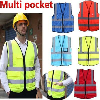 Hi Vis High Viz Safety Vest Waistcoat  Zipper Reflective Jacket Security Pockets