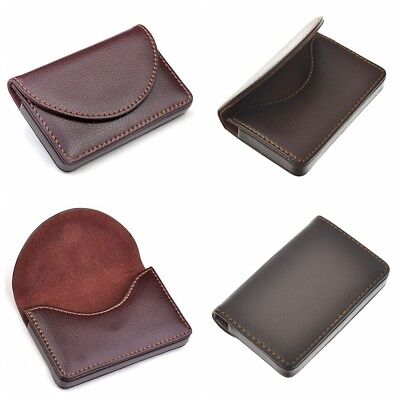 Brown Pocket Leather Name Business Card ID Card Credit Card Holder Case Wallet