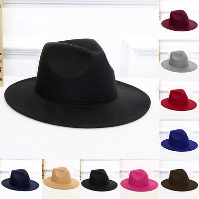 9ef5706d3c6 Vintage Men Women Wide Brim Wool felt Hat Floppy Felt Bowler Fedora Cloche  Cap