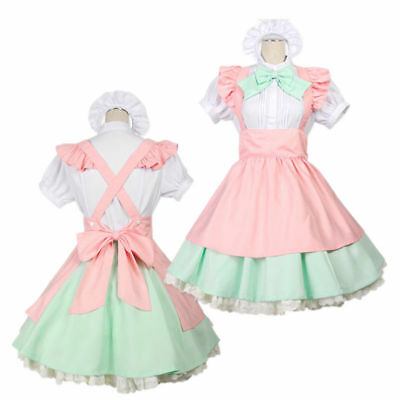 Anime Maid Cosplay Costume Sweet Lovely Lolita Dress Halloween Party Suit