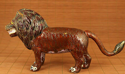 Rare Big Chinese Old enamels Cloisonne Handmade Carved Leo lion Statue home deco