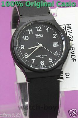 MW-59-1B Black Genuine Casio Unisex Watches Date Resin Band 50M Brand-New