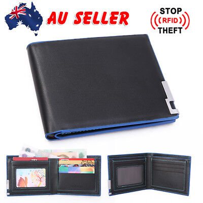 Black Mens Slim Card Holder Bifold GENUINE Leather Wallet Short Purse OZ