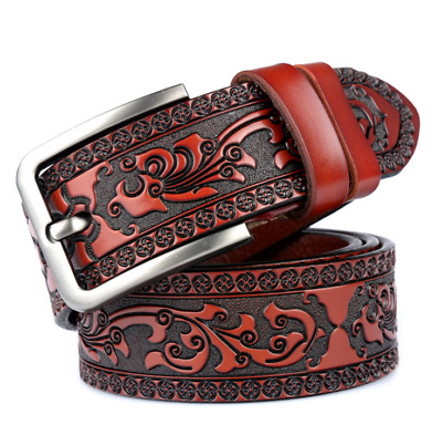 Genuine Leather Men's Tactical Waistband Embossed Tooled Leather Belt Buckle