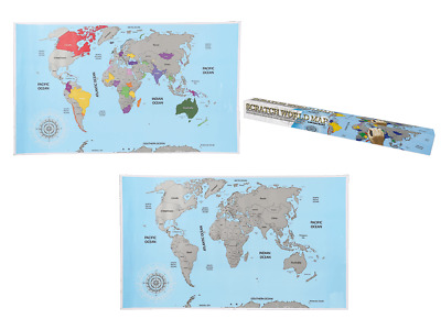 SCRATCH OFF ATLAS World Map Globe Countries Travel Log Poster Journal Accessory