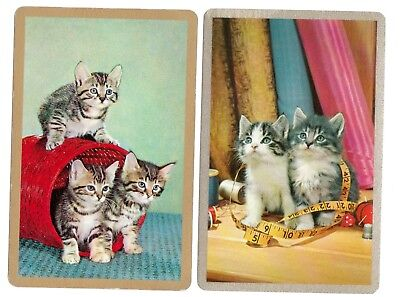 vintage Playing cards swap cards single pair 1970's cats