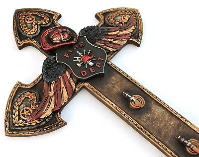 Fireman Cross Fire Dept Angel Wings Wall Hanging New 14x8 1/2 inches