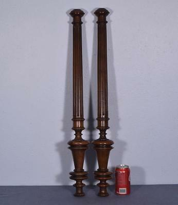 "*31"" Pair of French Antique Walnut Posts Pillars Architectural Columns Balusters"