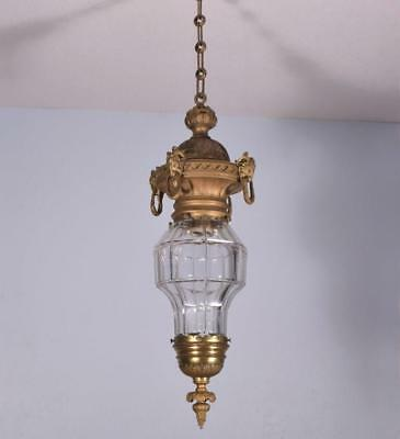 *Antique French Bronze & Cut Glass Hanging Lamp/Chandelier