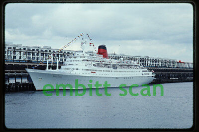 Original Slide, Cunard Line Cruise Ship Sagafjord at Boston, 1989