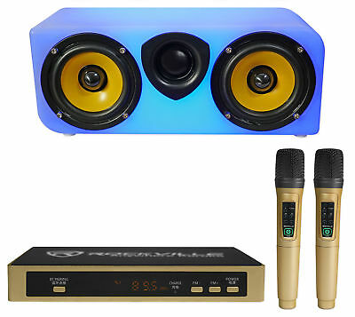 Rockville Portable KARAOKE Machine Bluetooth LED Speaker System+2) Wireless Mics