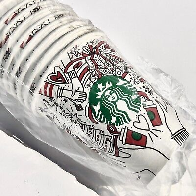 50 Starbucks CHRISTMAS Disposable Hot Paper Short Cups 8oz Xmas