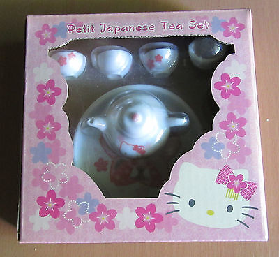 Hello Kitty Sanrio Petit Japanese Sakura Miniature Tea Set NRFP Tea Pot Tray Cup