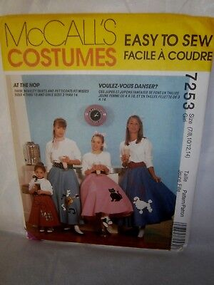 Halloween Cosplay Costume Pattern McCalls 7253  Child Poodle Skirt Size 7-14