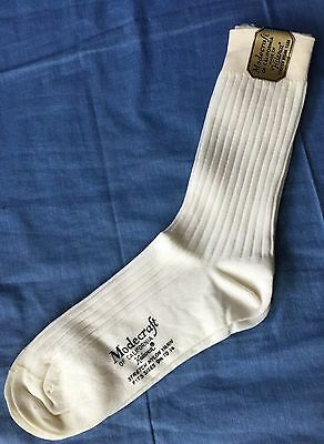 Vintage Modecraft Of California Helanca Stretch Nylon White Socks 9 1/2-14 Men