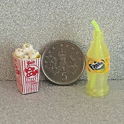 DOLLS HOUSE MINIATURE POPCORN & POP BOTTLE with STRAW Choice of Drink Handmade