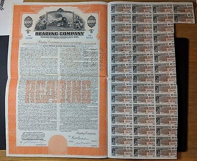 1945 $1000 Reading Rail Road Bond Certificate with Coupons
