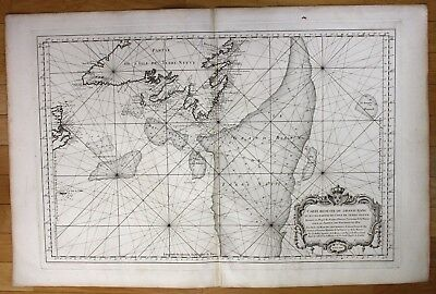 1764 Canada Newfoundland Grand Banks America sea chart map Bellin antique