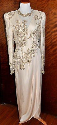 Vintage Rina Di Montella Champagne Formal Gown  Mother of the Bride