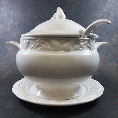 Vintage Century Japan White Ceramic Embossed Soup Tureen With Plate & Ladle
