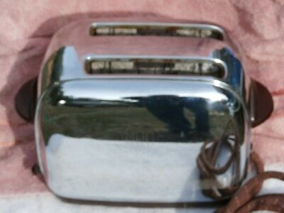 Vintage Toastmaster Chrome Bakelite Art Deco Toaster Made in USA cloth cord VG