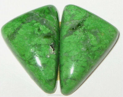 10.6ct EARRING PAIR GREEN MAW SIT SIT JADE CABOCHONS