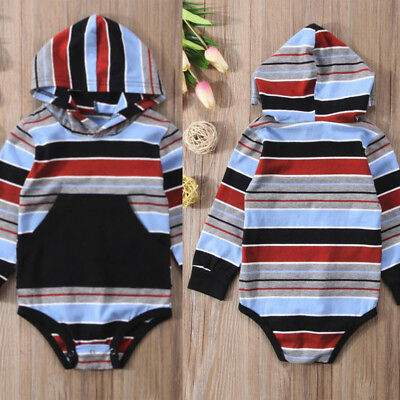 Infant Baby Girl Boy Long Sleeve Stripe Hooded Romper Jumpsuit Clothes Outfit GY