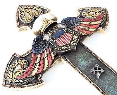 US Coast Guard Angel Wings Cross New 14x 8 1/2 Inches Polyresin