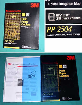 3M PP-2504 TRANSPARENCY FILM for PLAIN PAPER COPIERS/BLACK on BLUE/50 SHEET
