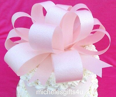 "Large Light Pink Cake Wafer Paper Bow Ribbon 7""x3"" Edible Rice Wafer Paper"