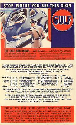 Advertising Card Gulf Oil Info-Log #91 - Ft Wayne, Indiana to Mansfield Ohio Map