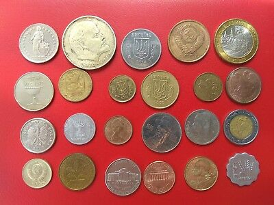 lot of 23 different world coins circulated
