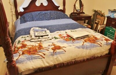 Holiday Christmas Comforter Set - Domestications -Queen-Santa in Sleigh w/Sheets
