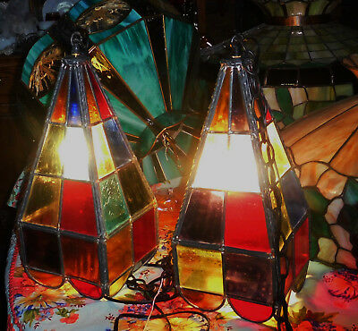 1 Vtg Leaded Stained Glass Hanging Lamp Light Fixture Switch Pool Table 2 Availa