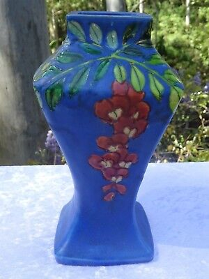 Antique Art Deco Japanese Pottery Blue Vase