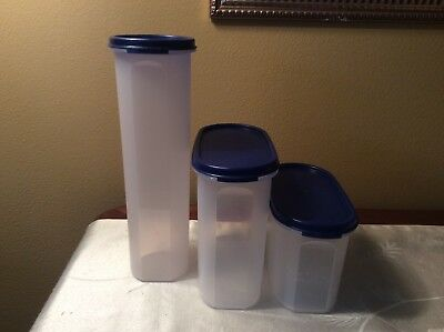Tupperware Modular Mates Lot - Oval 2, Oval 3 & Round 5 with Blue Seals - GUC
