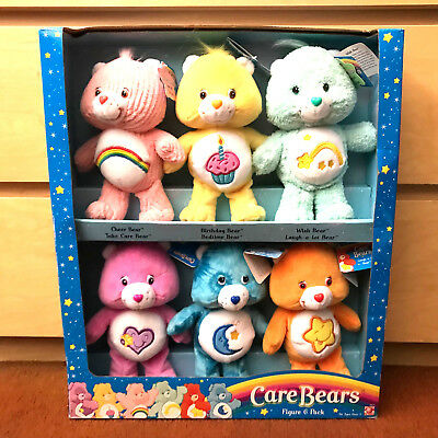 """2003 Play Along Toys 8"""" Plush Dolls Care Bears Figure 6 Pack Limited Edition Set"""