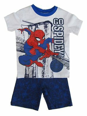 Marvel Little Boys White Blue Red Spiderman T-Shirt 2 Pc Shorts Outfit 4-7