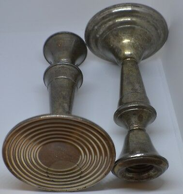 Pair  Sterling Silver  Candle Holders By Frank M Whiting Company Weighted