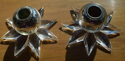 Signed Steuben Crystal RARE Candle Holders BEAUTIFUL!