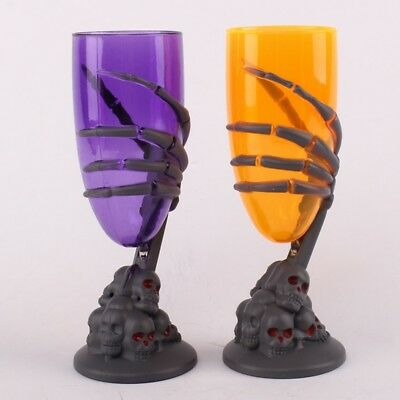 LED Light Up Wine Glasses Halloween Cocktail Party Drinking Cup Skull Ghost Claw